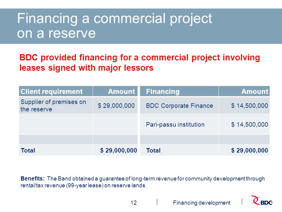 12Financing development Financing a commercial project on a reserve Benefits: The Band obtained a guarantee of long-term revenue for community development through rental/tax revenue (99-year lease) on reserve lands.