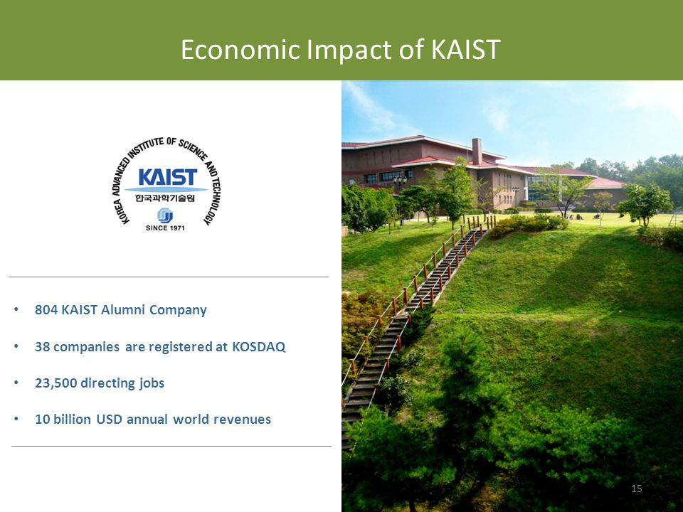 804 KAIST Alumni Company 38 companies are registered at KOSDAQ 23,500 directing jobs 10 billion USD annual world revenues Economic Impact of KAIST 15