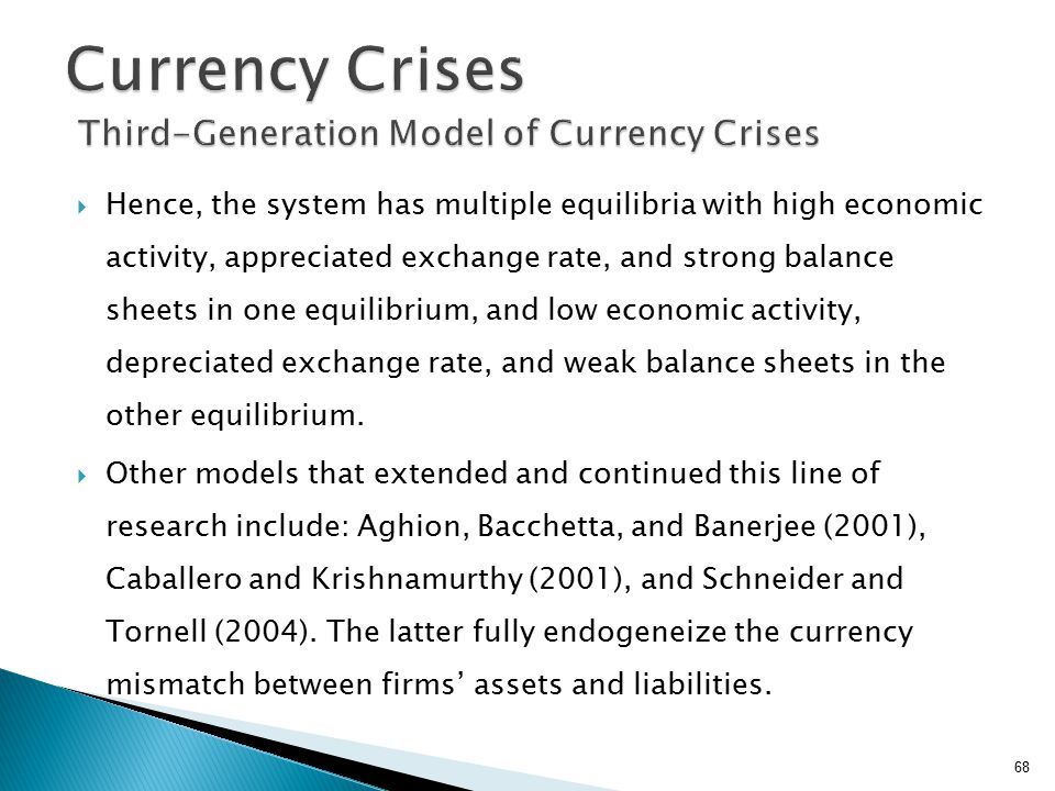  Hence, the system has multiple equilibria with high economic activity, appreciated exchange rate, and strong balance sheets in one equilibrium, and low economic activity, depreciated exchange rate, and weak balance sheets in the other equilibrium.