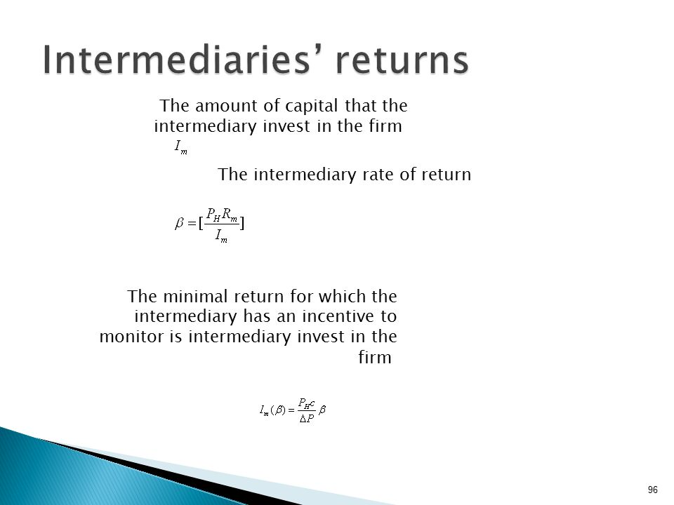 96 The amount of capital that the intermediary invest in the firm The intermediary rate of return The minimal return for which the intermediary has an incentive to monitor is intermediary invest in the firm