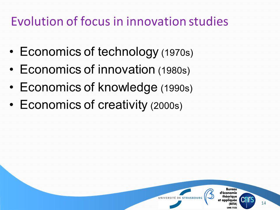 Economics of technology (1970s) Economics of innovation (1980s) Economics of knowledge (1990s) Economics of creativity (2000s) Evolution of focus in innovation studies 14
