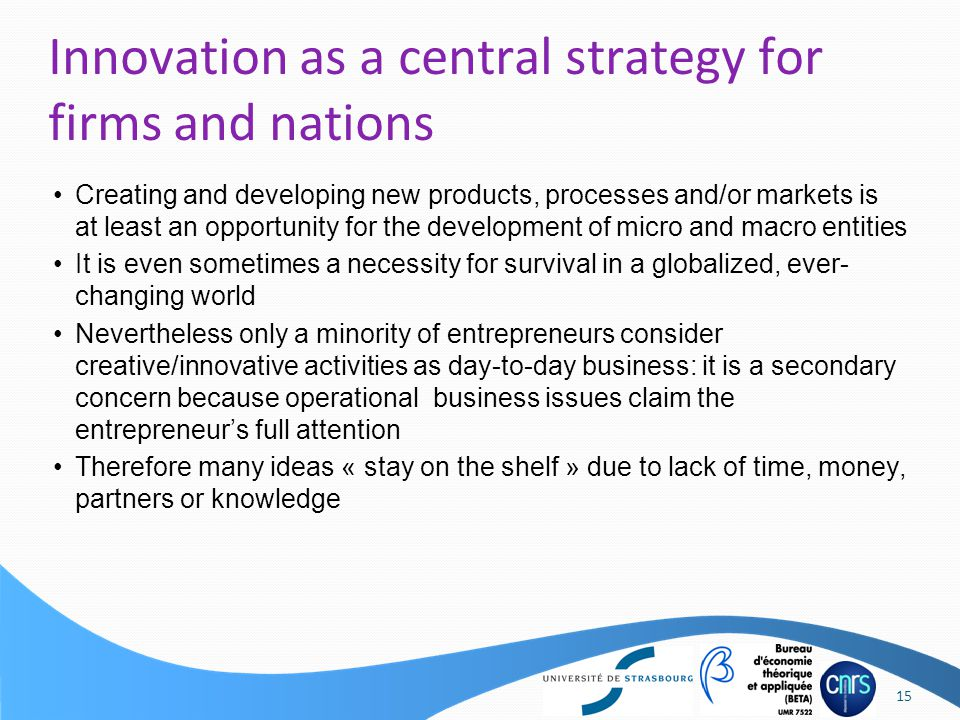 Creating and developing new products, processes and/or markets is at least an opportunity for the development of micro and macro entities It is even s