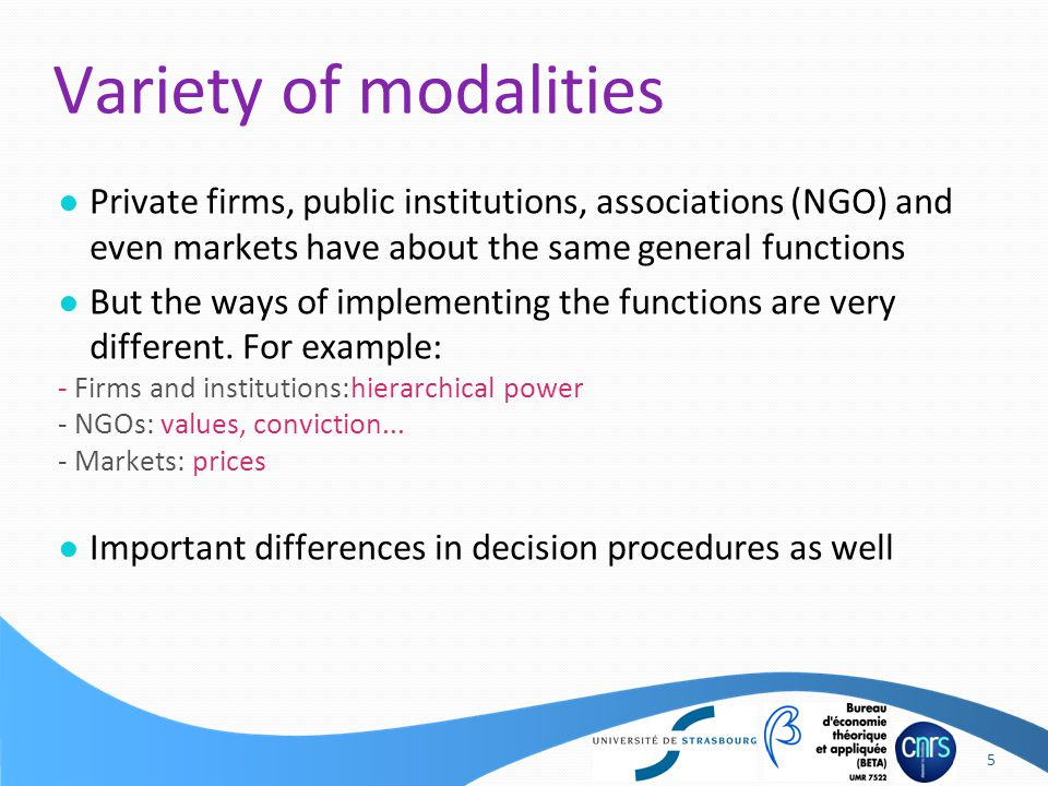 ● Private firms, public institutions, associations (NGO) and even markets have about the same general functions ● But the ways of implementing the functions are very different.
