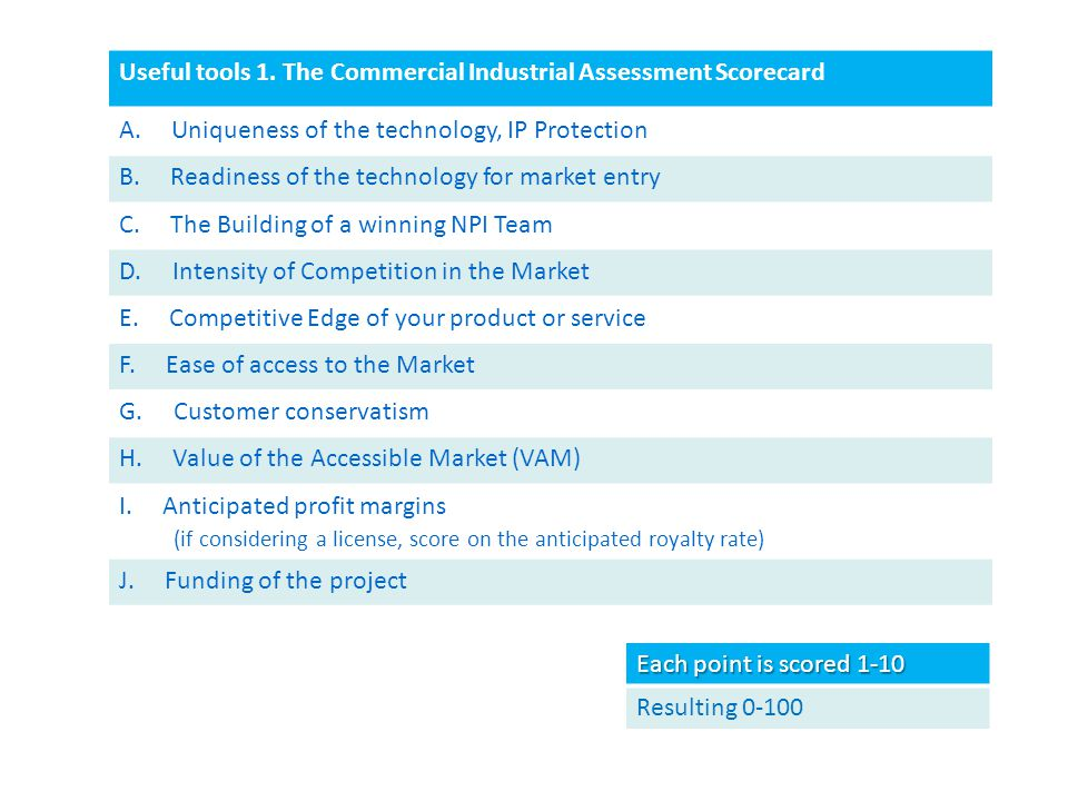 Useful tools 1. The Commercial Industrial Assessment Scorecard A.