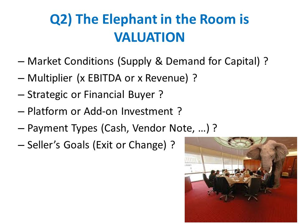 Q2) The Elephant in the Room is VALUATION – Market Conditions (Supply & Demand for Capital) .