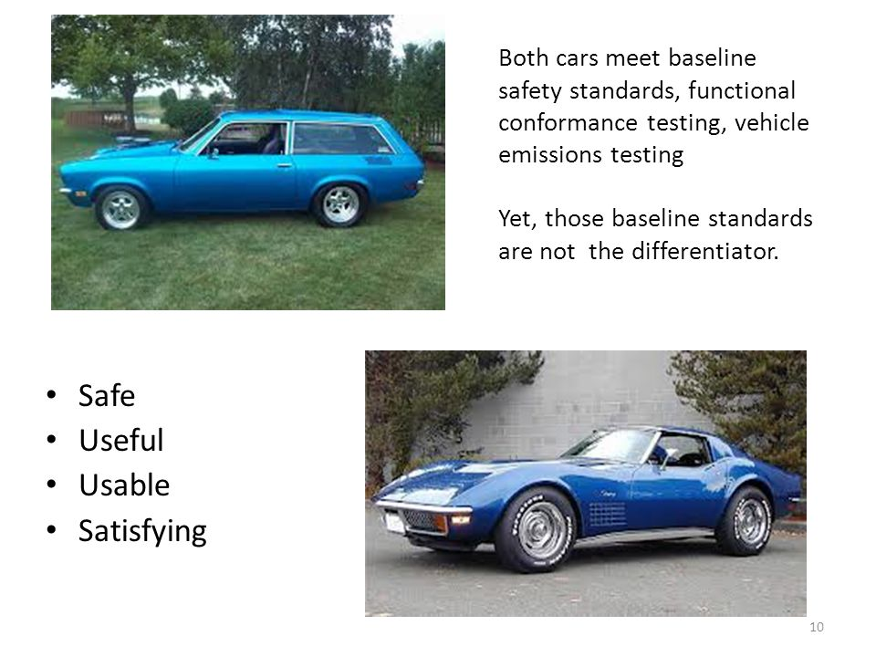 Both cars meet baseline safety standards, functional conformance testing, vehicle emissions testing Yet, those baseline standards are not the differentiator.