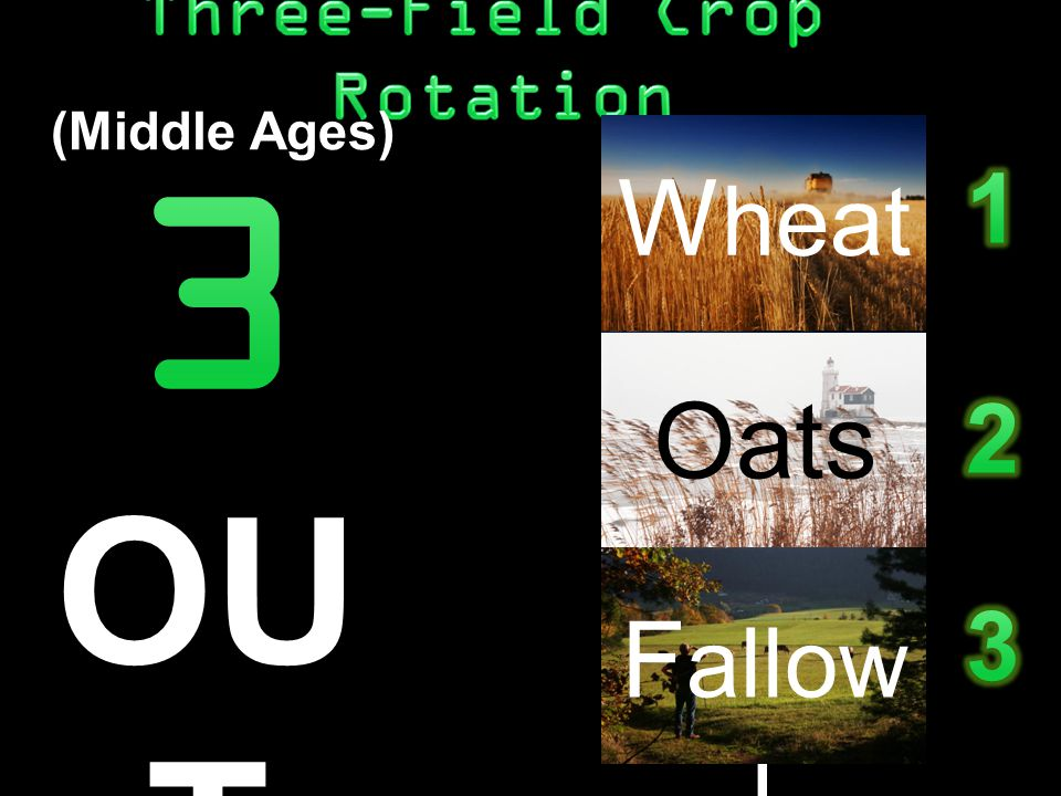 Whea t Oats Fallo w (Middle Ages) Whea t Oats Fallo w W heat Oats F allow OU T with the old.