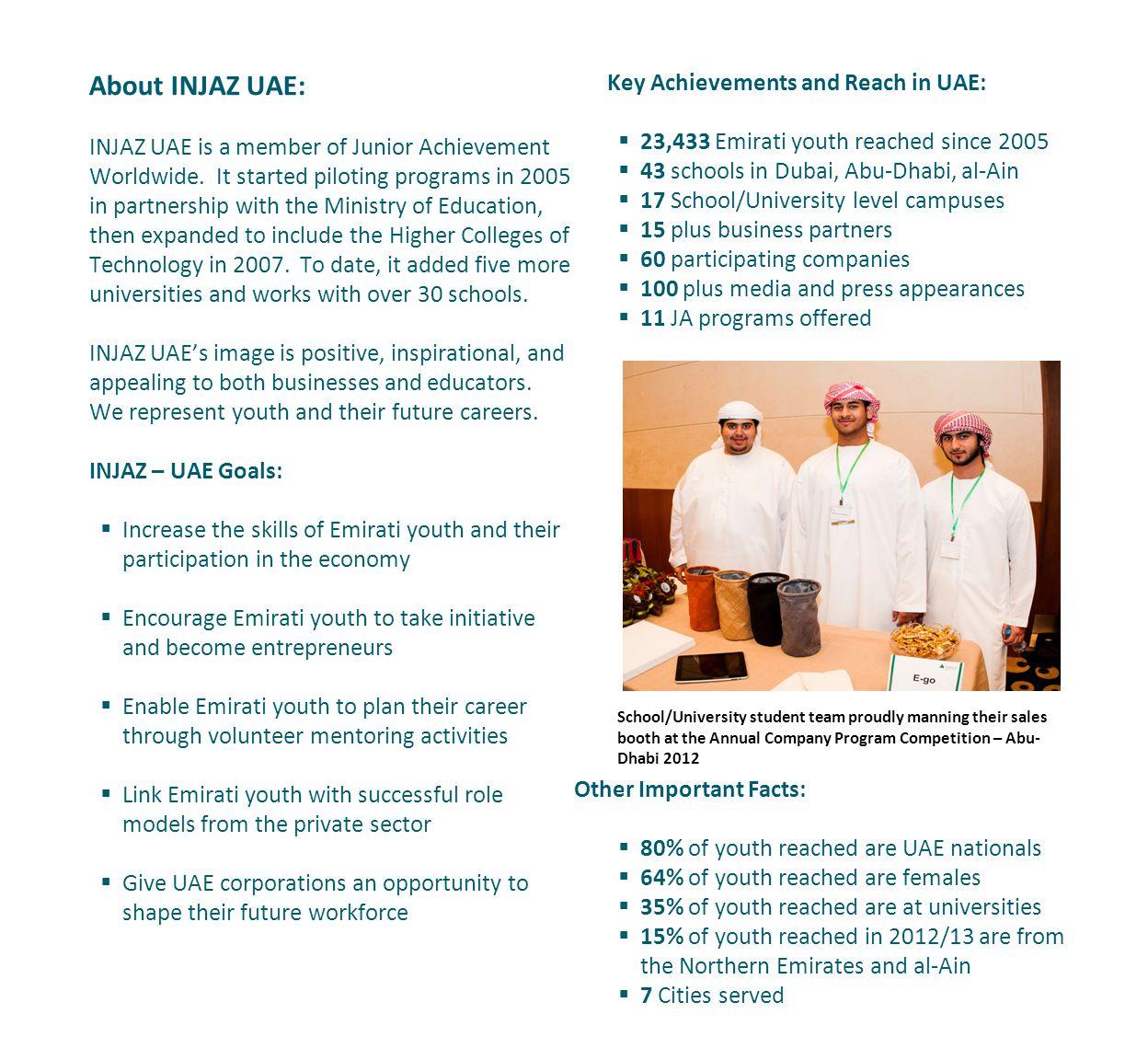 About INJAZ UAE: INJAZ UAE is a member of Junior Achievement Worldwide.