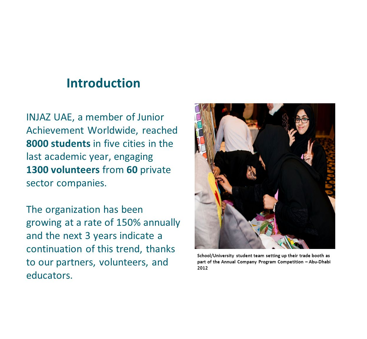 Introduction INJAZ UAE, a member of Junior Achievement Worldwide, reached 8000 students in five cities in the last academic year, engaging 1300 volunteers from 60 private sector companies.