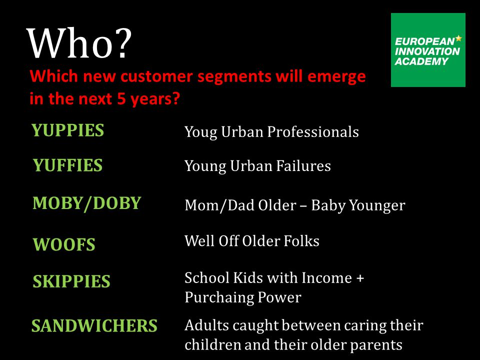 Who. Which new customer segments will emerge in the next 5 years.