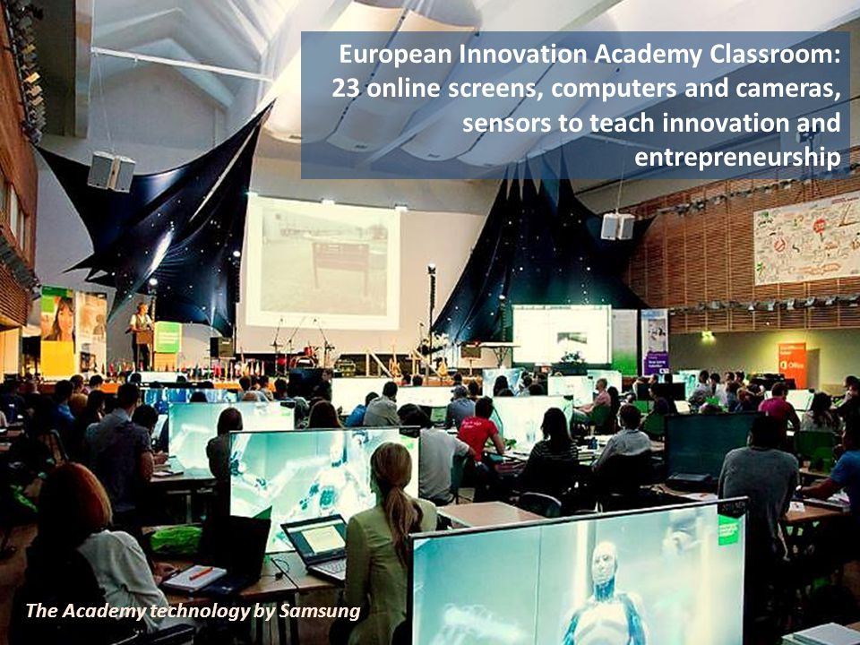 European Innovation Academy Classroom: 23 online screens, computers and cameras, sensors to teach innovation and entrepreneurship The Academy technology by Samsung