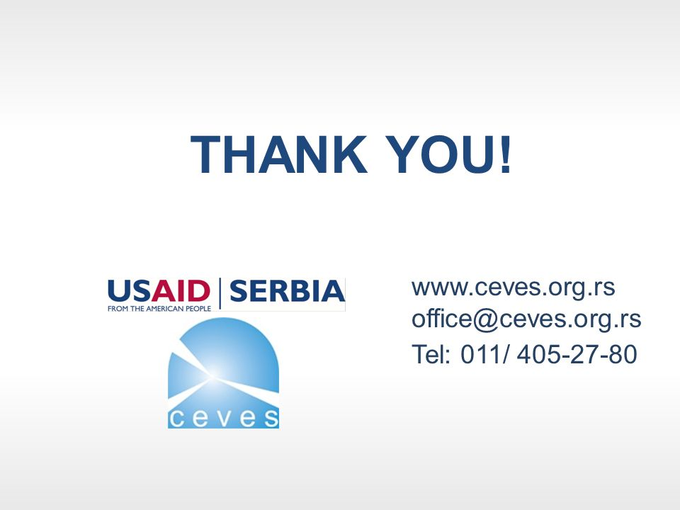 THANK YOU! www.ceves.org.rs office@ceves.org.rs Tel: 011/ 405-27-80