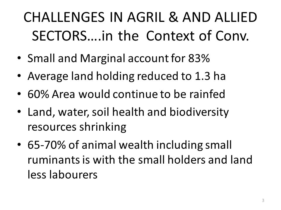 CHALLENGES IN AGRIL & AND ALLIED SECTORS….in the Context of Conv.