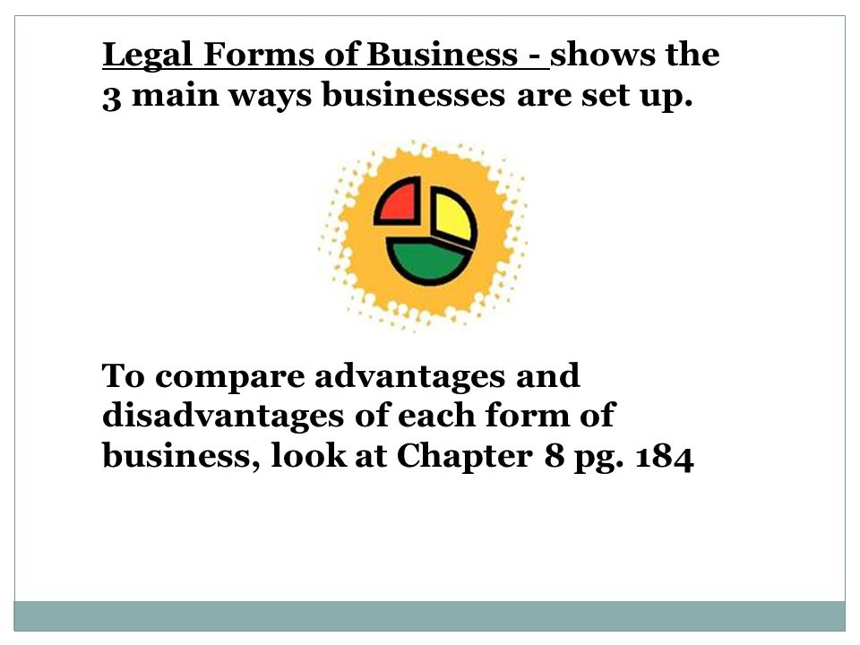Legal Forms of Business - shows the 3 main ways businesses are set up.