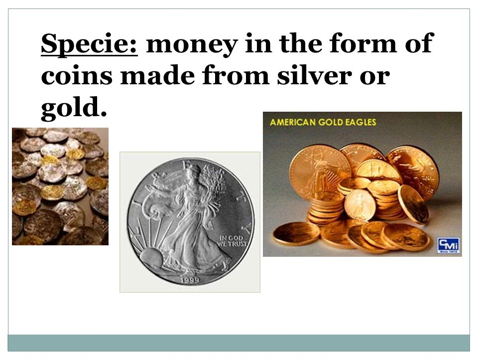 Specie: money in the form of coins made from silver or gold.