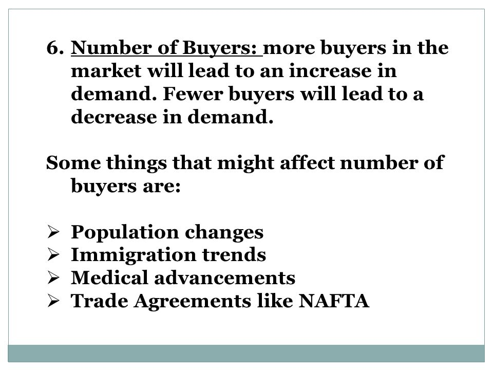 6.Number of Buyers: more buyers in the market will lead to an increase in demand.