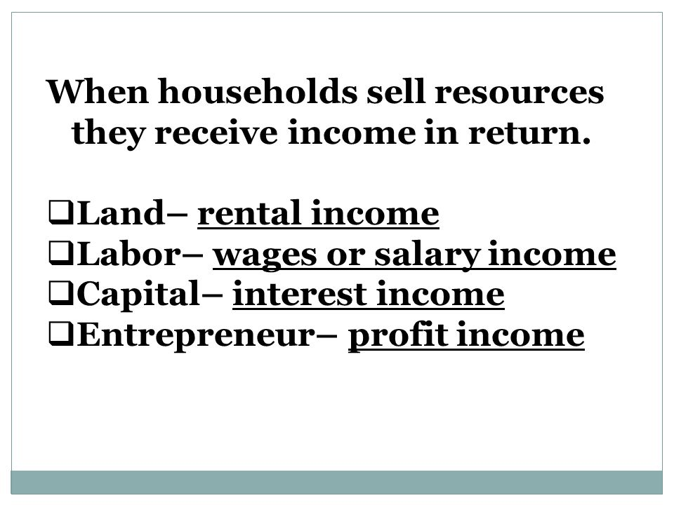 When households sell resources they receive income in return.