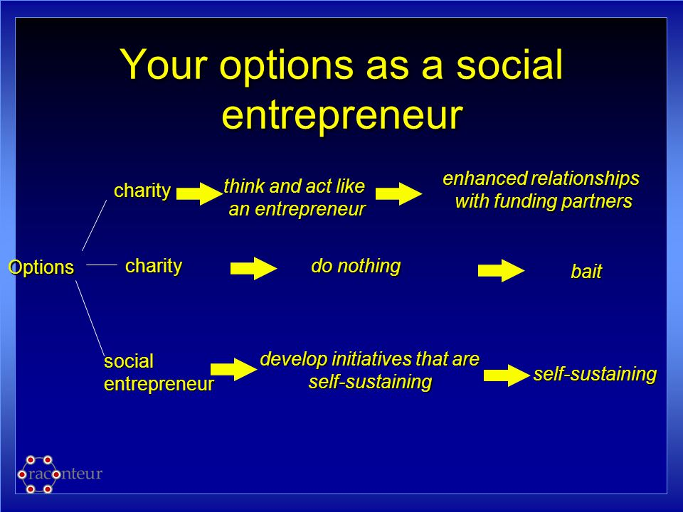 Your options as a social entrepreneur Options charity do nothing socialentrepreneur enhanced relationships with funding partners with funding partners