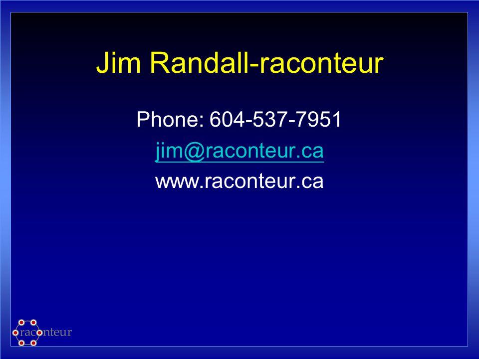 Jim Randall-raconteur Phone: 604-537-7951 jim@raconteur.ca www.raconteur.ca