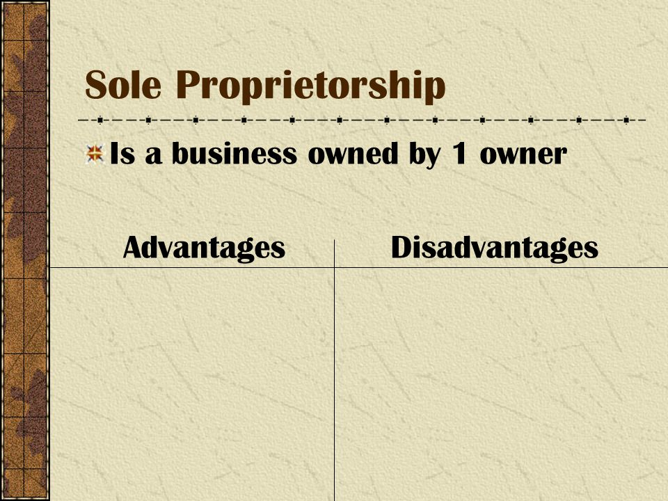 Sole Proprietorship Is a business owned by 1 owner AdvantagesDisadvantages