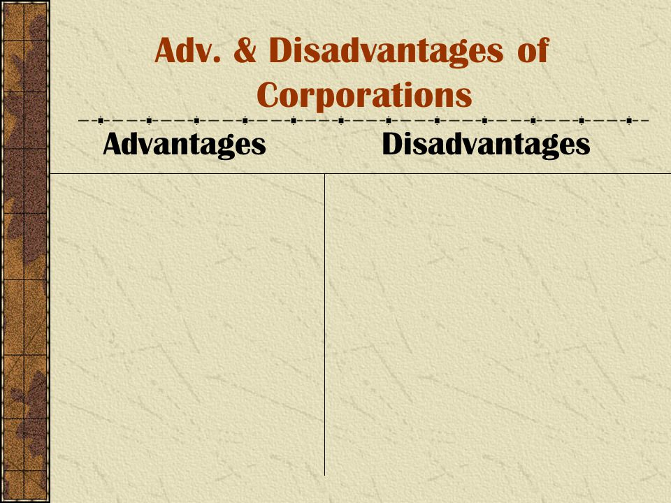 Adv. & Disadvantages of Corporations Advantages Disadvantages