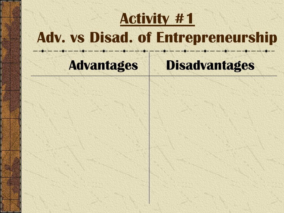 Activity #1 Adv. vs Disad. of Entrepreneurship AdvantagesDisadvantages