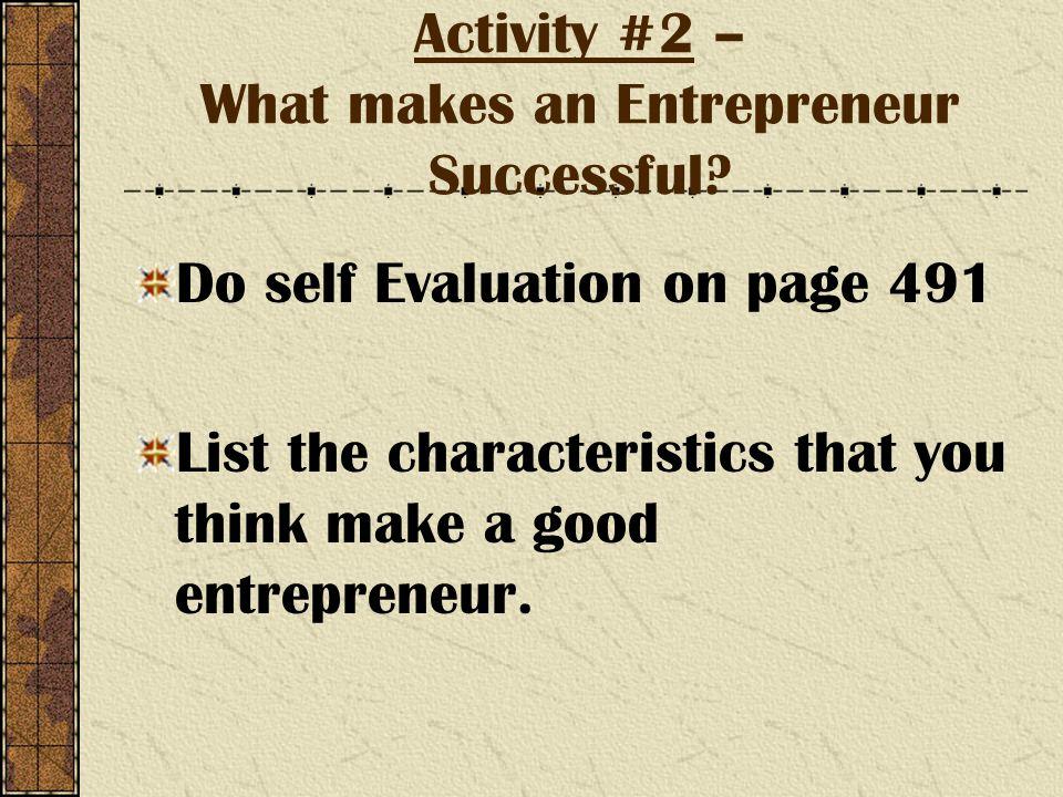 Activity #2 – What makes an Entrepreneur Successful.