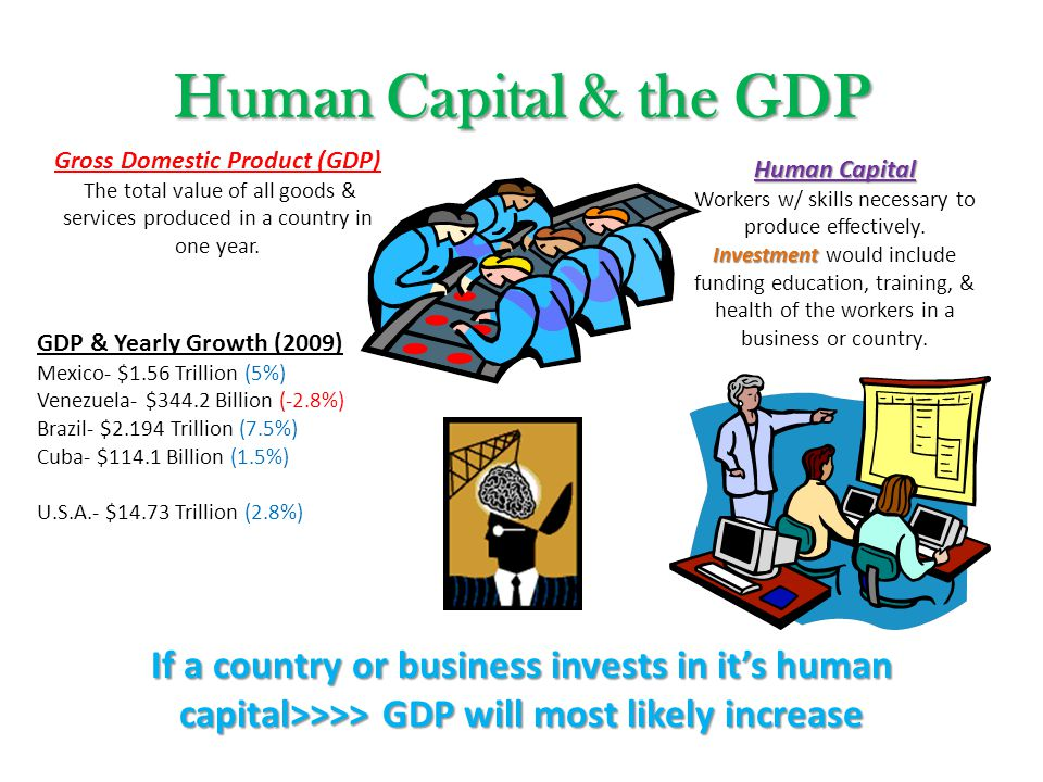 Human Capital & the GDP Gross Domestic Product (GDP) The total value of all goods & services produced in a country in one year. Human Capital Workers