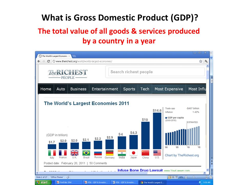 What is Gross Domestic Product (GDP)? The total value of all goods & services produced by a country in a year