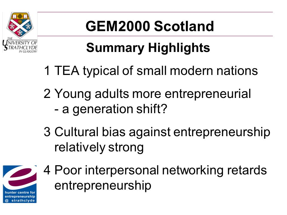 GEM2000 Scotland Summary Highlights 1TEA typical of small modern nations 2Young adults more entrepreneurial - a generation shift.