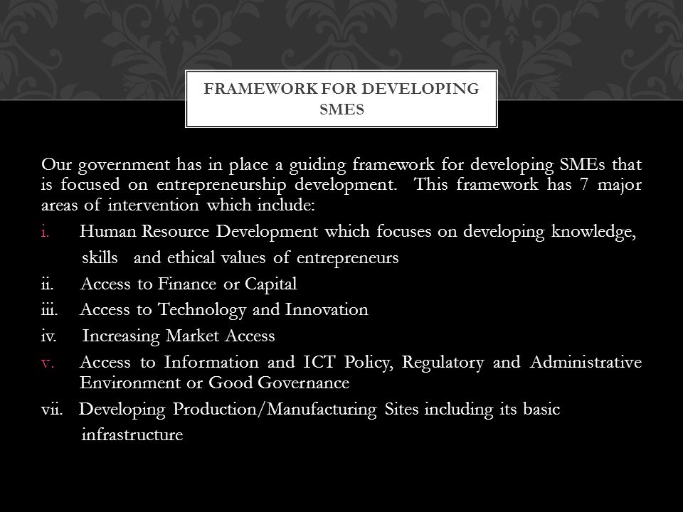 Our government has in place a guiding framework for developing SMEs that is focused on entrepreneurship development. This framework has 7 major areas