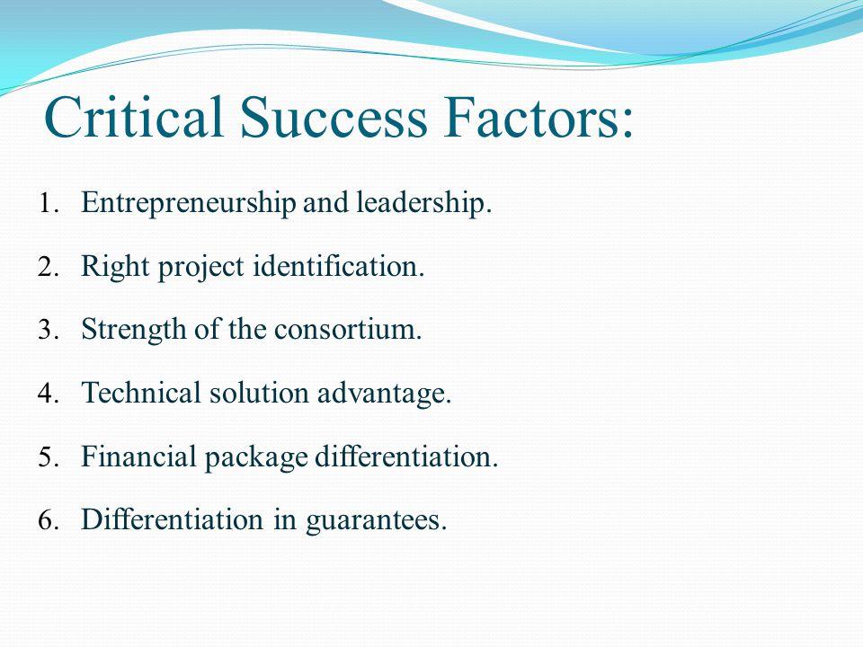Critical Success Factors: 1. Entrepreneurship and leadership.