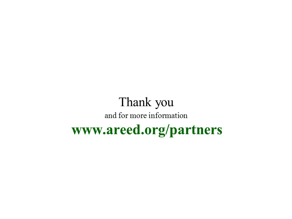Thank you and for more information www.areed.org/partners