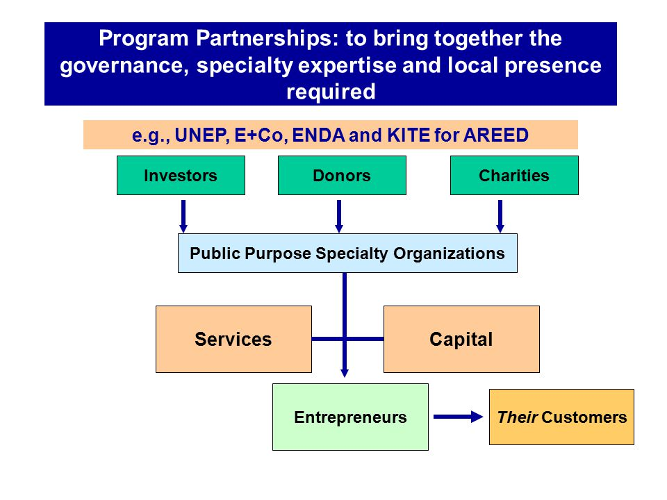 Implementation Partnerships: to deliver the services and capital to entrepreneurs InvestorsDonorsCharities Services Entrepreneurs Capital Their Customers Public Purpose Specialty Organizations e.g., E+Co and ENDA in Senegal, KITE in Ghana, MFC in Mali, TaTEDO in Tanzania and CEEEZ in Zambia