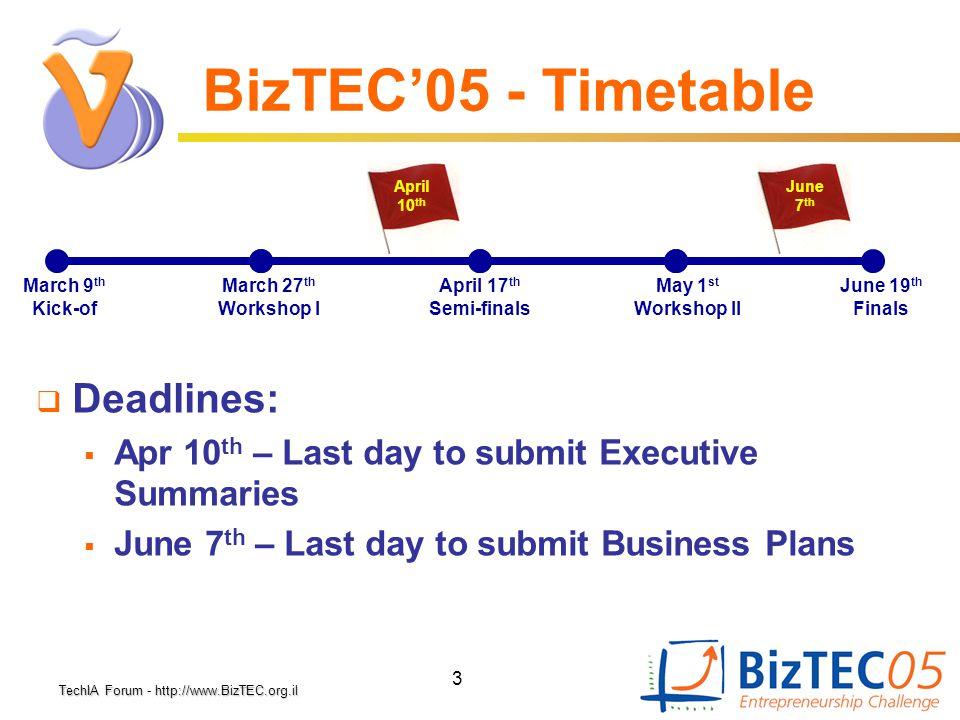 TechIA Forumhttp://www.BizTEC.org.il TechIA Forum - http://www.BizTEC.org.il 3 BizTEC'05 - Timetable March 9 th Kick-of June 19 th Finals April 17 th
