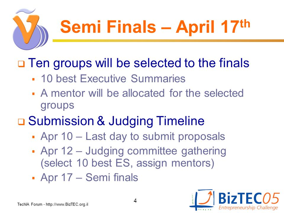 TechIA Forumhttp://www.BizTEC.org.il TechIA Forum - http://www.BizTEC.org.il 4 Semi Finals – April 17 th  Ten groups will be selected to the finals 