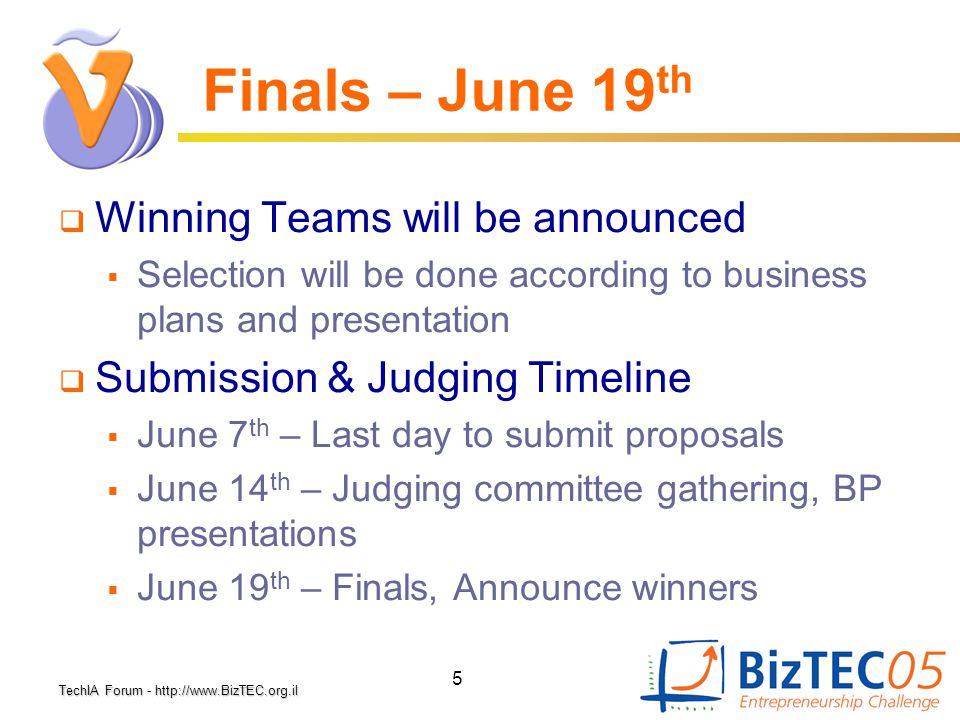 TechIA Forumhttp://www.BizTEC.org.il TechIA Forum - http://www.BizTEC.org.il 5 Finals – June 19 th  Winning Teams will be announced  Selection will