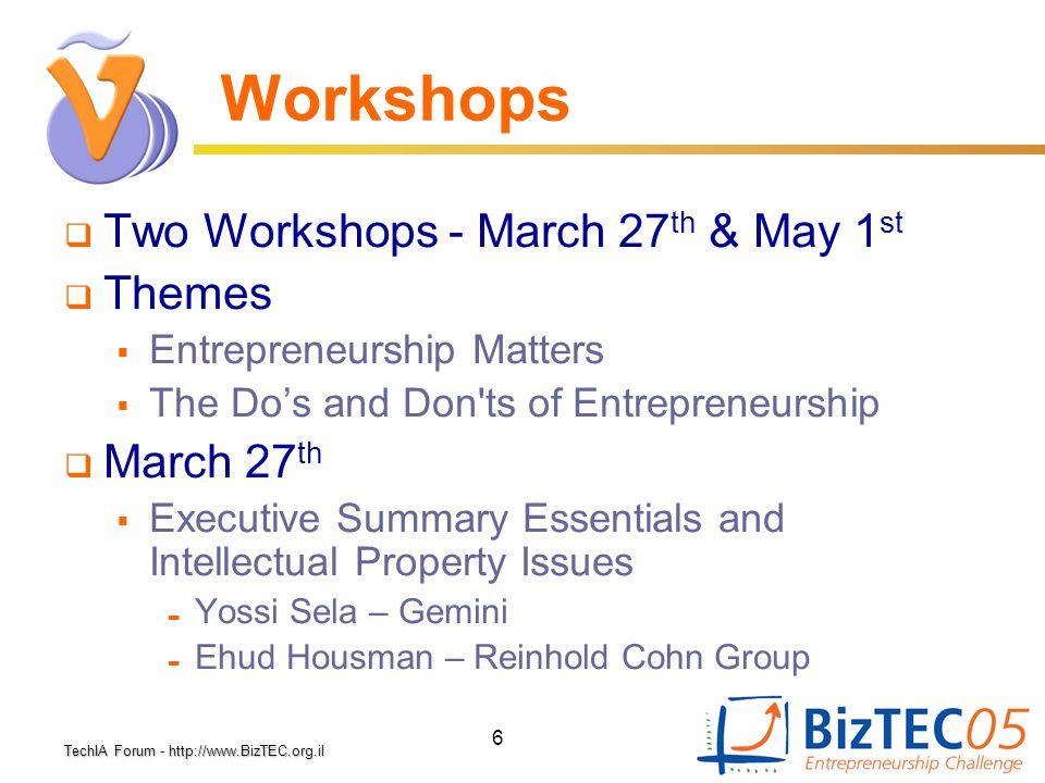 TechIA Forumhttp://www.BizTEC.org.il TechIA Forum - http://www.BizTEC.org.il 6 Workshops  Two Workshops - March 27 th & May 1 st  Themes  Entrepren