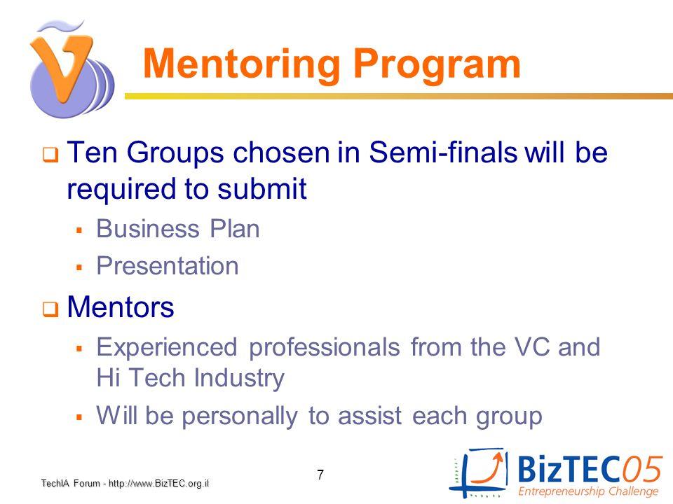 TechIA Forumhttp://www.BizTEC.org.il TechIA Forum - http://www.BizTEC.org.il 7 Mentoring Program  Ten Groups chosen in Semi-finals will be required t