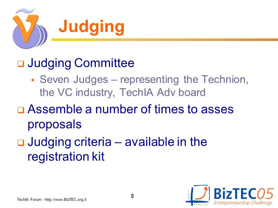 TechIA Forumhttp://www.BizTEC.org.il TechIA Forum - http://www.BizTEC.org.il 8 Judging  Judging Committee  Seven Judges – representing the Technion,