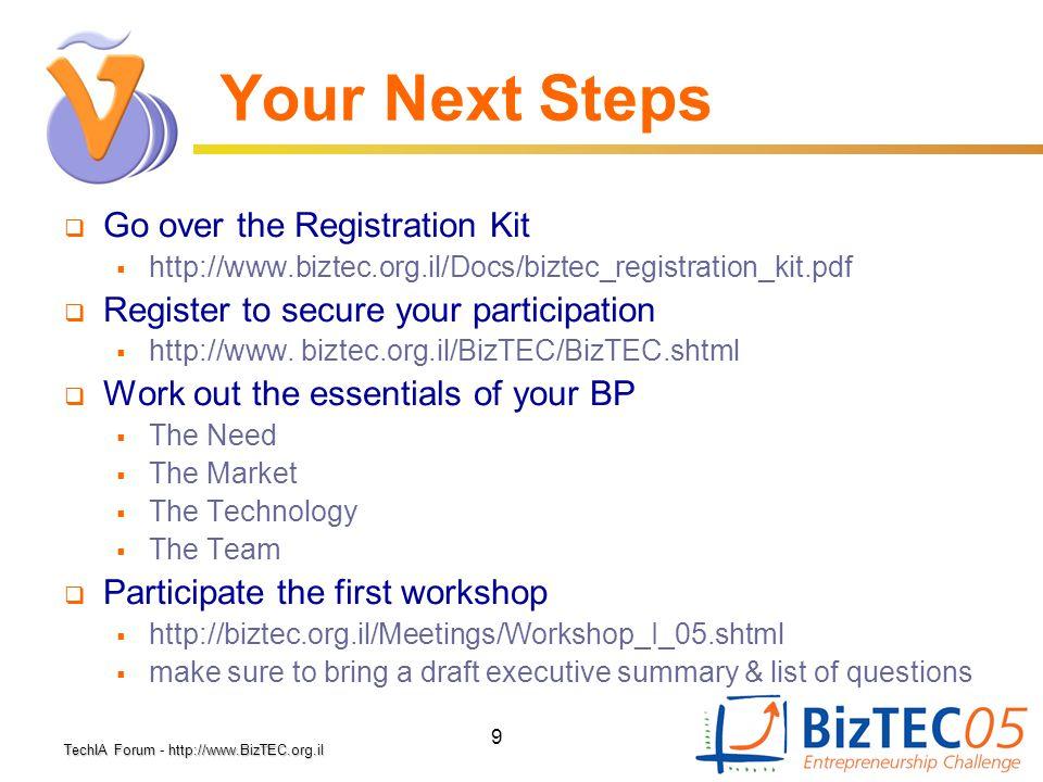 TechIA Forumhttp://www.BizTEC.org.il TechIA Forum - http://www.BizTEC.org.il 9 Your Next Steps  Go over the Registration Kit  http://www.biztec.org.