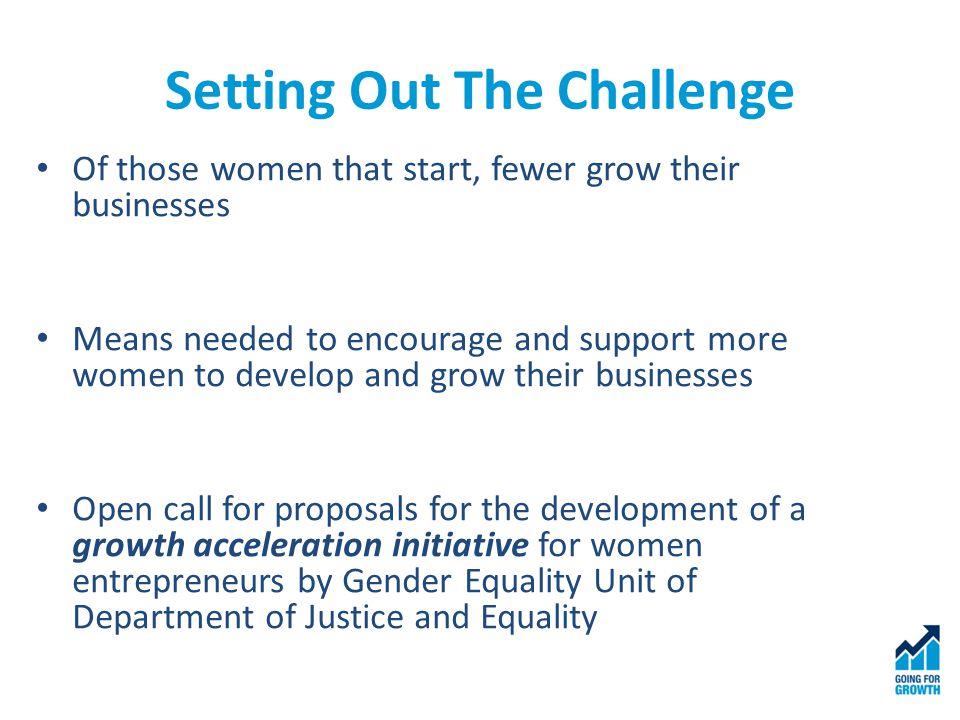 Setting Out The Challenge Of those women that start, fewer grow their businesses Means needed to encourage and support more women to develop and grow their businesses Open call for proposals for the development of a growth acceleration initiative for women entrepreneurs by Gender Equality Unit of Department of Justice and Equality
