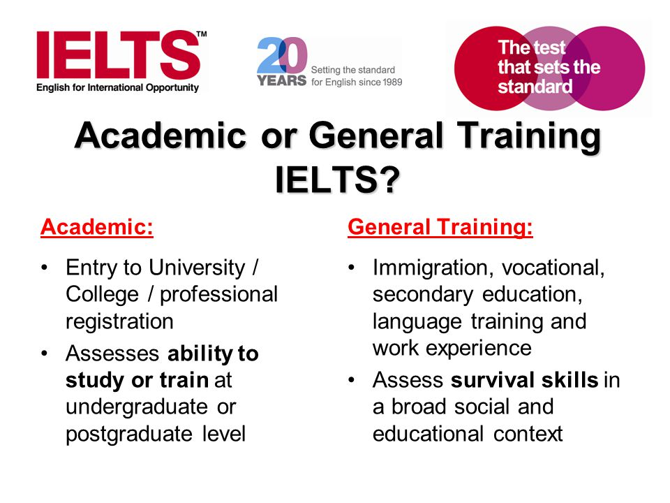 www.ielts.org Academic or General Training IELTS? Academic: Entry to University / College / professional registration Assesses ability to study or tra
