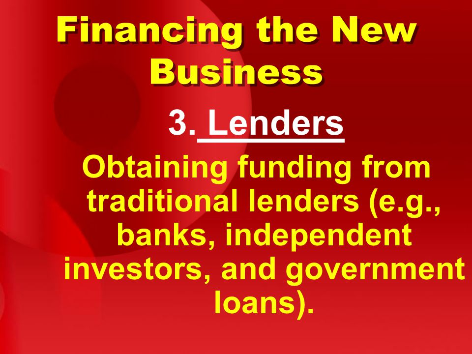 Financing the New Business 3.