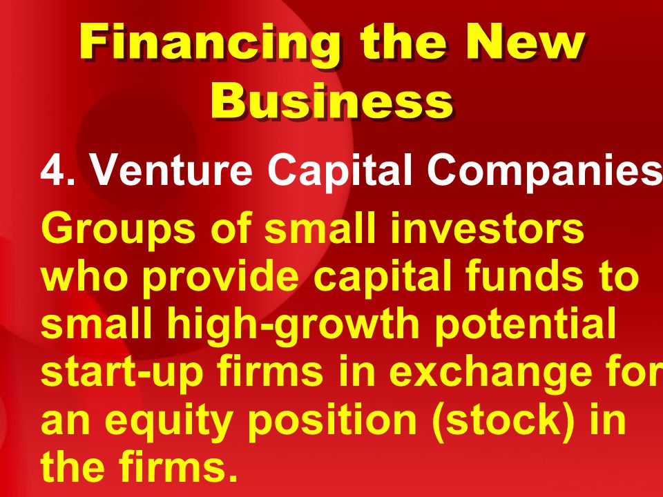 Financing the New Business 4.