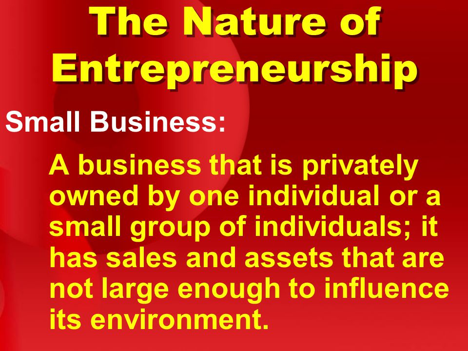 The Nature of Entrepreneurship Small Business: A business that is privately owned by one individual or a small group of individuals; it has sales and assets that are not large enough to influence its environment.