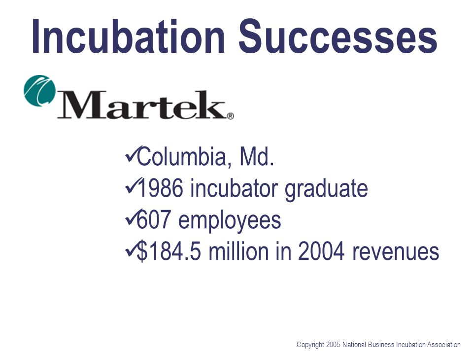 Copyright 2005 National Business Incubation Association Incubation Successes Columbia, Md.