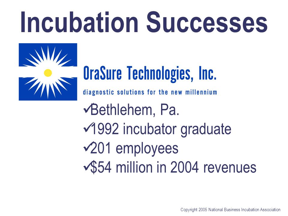 Copyright 2005 National Business Incubation Association Incubation Successes Bethlehem, Pa.