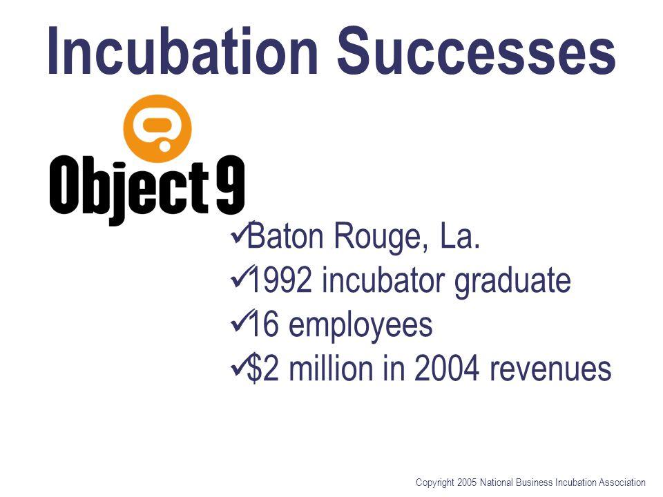 Copyright 2005 National Business Incubation Association Incubation Successes Baton Rouge, La. 1992 incubator graduate 16 employees $2 million in 2004