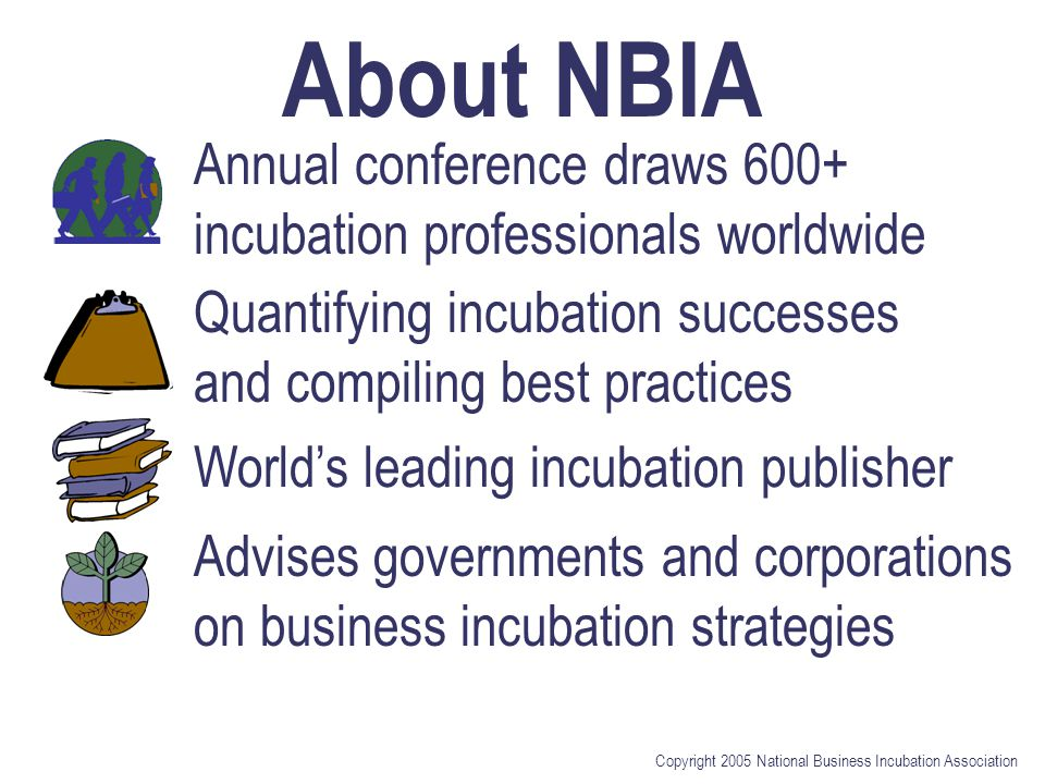 Copyright 2005 National Business Incubation Association About NBIA Annual conference draws 600+ incubation professionals worldwide Quantifying incubation successes and compiling best practices World's leading incubation publisher Advises governments and corporations on business incubation strategies